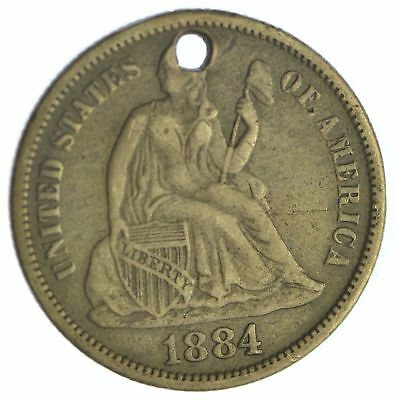 1884 Seated Liberty Silver Dime Love Token *Condition: Hole *XB26