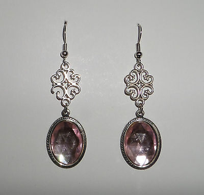 Lacy Filigree Victorian Style Pale Pink Acrylic Stones Dark Silver Pl Earrings