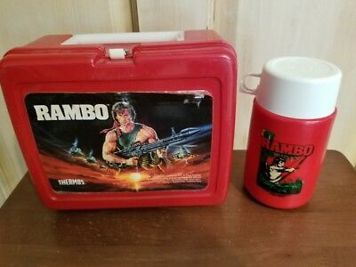 Vintage Plastic Thermos Brand Red Rambo Lunch Box with Thermos