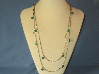 Vintage Gold-Tone Metal Hanging Green Rhinestone Chain Necklace