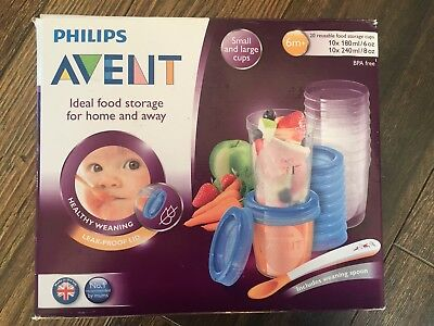 Philips Avent Baby Food Storage Cups 180/240 ML Pack of 20  SCF721/20
