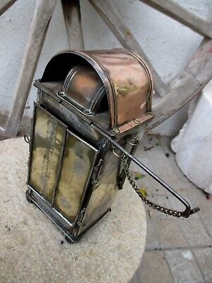 Vintage Handmade in Copper and Tin Rare Carriage Lamp Lantern to Hang or Table