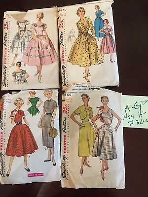 Lot Of 4 1950s vintage simplicity sewing patterns Dresses