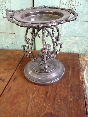 Rare Meriden CO. SILVER PLATE Brides Bowl Stand ~Chick, Branches, Flowers