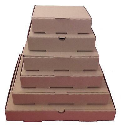 Plain Brown Pizza,Takeaway Boxes, Good Quality Light Postal Boxes - 7 - 14 inch