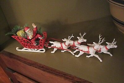 VINTAGE 50's/60's PLASTIC SANTA CLAUS IN SLEIGH WITH REINDEER,  AS IS,HONG KONG