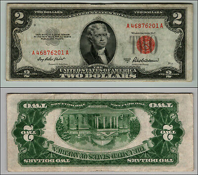 1953A $2 DOLLAR BILL  US NOTE LEGAL TENDER PAPER MONEY CURRENCY RED SEAL j870