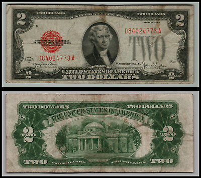 1928g $2 DOLLAR BILL OLD US NOTE LEGAL TENDER PAPER MONEY  RED SEAL  LOT E874