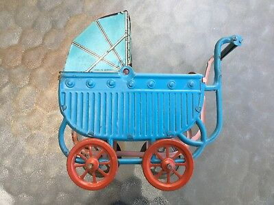 Antique All Tin Litho GERMANY Toy Doll Baby Carriage Buggy German