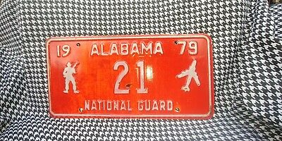 Vintage 1979 Red And White Alabama National Guard License Plate #21 low number