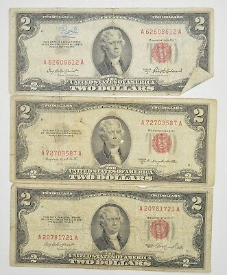 Lot (3) Red Seal $2.00 US 1953 or 1963 Notes - Currency Collection *287