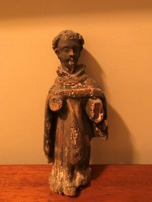 "ANTIQUE 18th CENTURY SPANISH WOODEN 12"" SANTOS RELIGIOUS STATUE"