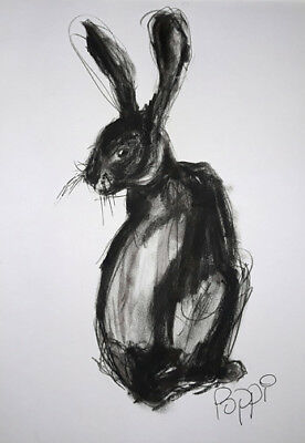 ORIGINAL ART DRAWING * Charcoal on Art paper * RABBIT *Art By Poppi