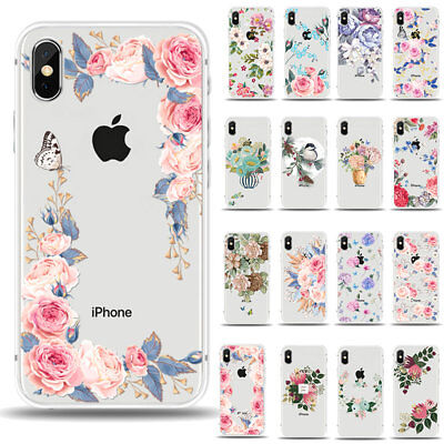 For iPhone XS Max XR XS X 6s 7Plus 8 Clear Case Soft Rubber Flower Pattern Cover