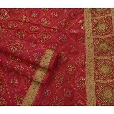 Sanskriti Vintage Saree Pure Organza Silk Hand Beaded Pink Ethnic Fabric Sari