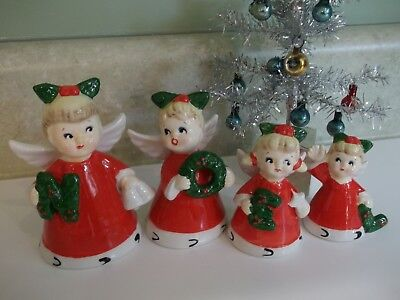 4 Vintage Christmas NOEL Bell Angels~Napco ~Vermont Country Store~Ceramic~IOB