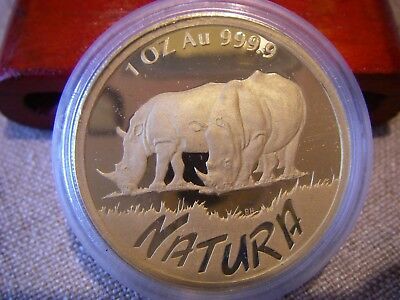 1995 South Africa 1 oz. Natura Rhino 999.9 Gold Proof coin original mint sealed