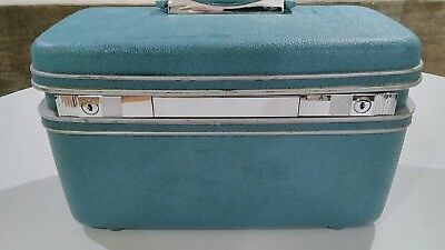 Blue Samsonite make up case luggage train case vintage