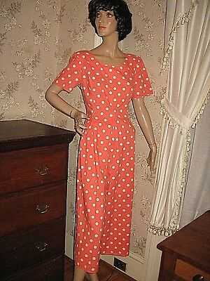 Vintage Orange And White Polka Dot One Piece Cotton Culotte Dress-Jump/playsuit