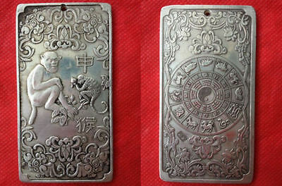 Chinese Old 12 Zodiac - Monkey tibet Silver Bullion thanka amulet 135g