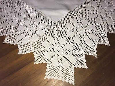 Vintage Antique Lots Of Lace White Linen Tablecloth