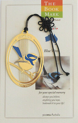 Australian Blue Wren Gold Plated Bookmark-Cello Wrapped Approx Size 6cm x 4cm
