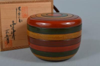 M8788: Japan Wooden Lacquer ware TEA CADDY Natsume Chaire Container w/signed box