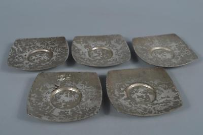M9256: Japanese Casting copper rough surface TEA CUP TRAY Saucer Chataku 5pcs