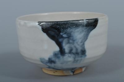 M9534: Japanese Kiyomizu-ware Blue glaze TEA BOWL Green tea tool Tea Ceremony