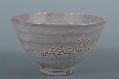 M9992: Japanese Hagi-ware White glaze TEA BOWL Green tea tool Tea Ceremony