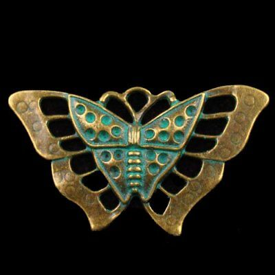 F67573 Carved Brass Bronze Butterfly Pendant Bead 58x34x3mm