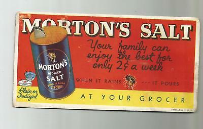 Vintage Mortons Salt When It Rains It Pours 2 Cent A Week Ink Blotter Card
