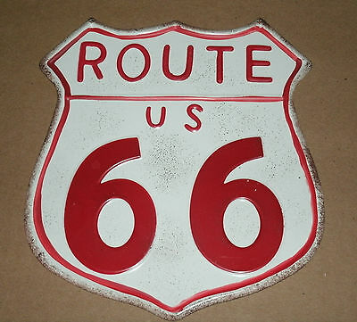 """Old Style Route 66 Tin Metal Sign - Half Size 6"""" Highway 66 Road Man Cave Sign"""