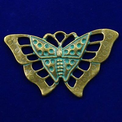 N39070 Carved Brass Bronze Butterfly Pendant Bead 55x33x2mm