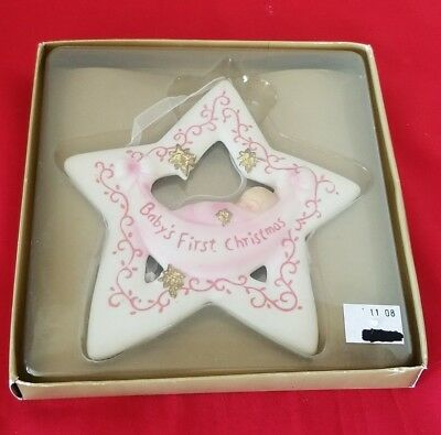 "Roman Brand BABY'S FIRST CHRISTMAS 5 3/8"" STAR ORNAMENT FOR GIRL"