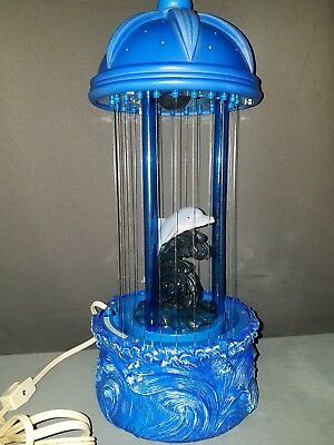 Vintage Mineral Rain Oil Table Lamp Dolphin WORKING