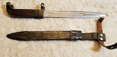 Vintage Bulgarian M47 Bayonet Type 1 AK with scabbard and strap