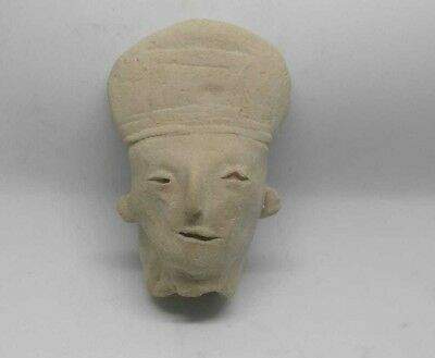 ANTIQUE PRE COLUMBIAN Clay HEAD MAYAN ? AZTEC ? Teotihuacan?