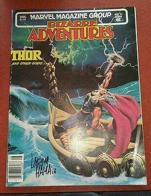 BIZARRE ADVENTURES #32 THOR larry hama signed coa 1982 MARVEL MAGAZINE GROUP fn