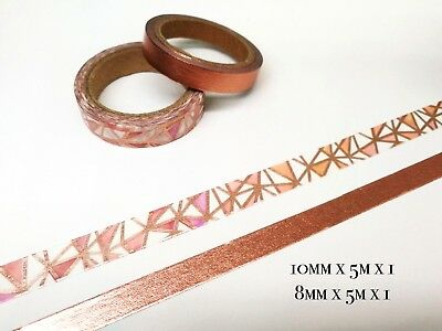 Washi tape - 2 Rolls Rose Gold Geometry and Solid color 5m MT257