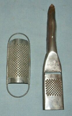 Vintage Pair of Small Tin Fine Cheese Food Graters 1/2 Round & Handle w/ Slicer