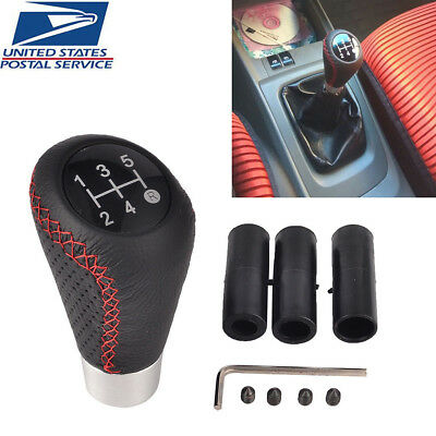 JDM Black Leather Red Stitch 5SP Manual Shifter Shift Knob For Lexus!