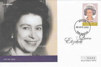 (19015) Gambia FDC Queen 75th Birthday 26 April 2001