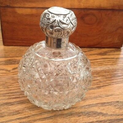 ANTIQUE 1900 C.May SILVER TOP CUT GLASS GLOBE SCENT/PERFUME BOTTLE, Birmingham