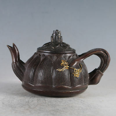 Chinese Gilt Copper Plum Blossom Teapot Made By The Royal Qianlong