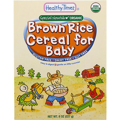 Healthy Times Organic Cereal for Baby Brown Rice 8 oz 227 g Dairy-Free,