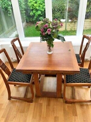 Art Deco Oak Extendable 2 Leaf Table and 4 Chairs, Recently Recovered