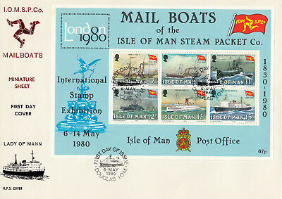 (70778) GB Isle of Man FDC Steam Packet Mail Boats minisheet LARGE 6 May 1980