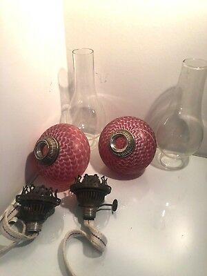 pair antique cranberry nailsea oil lamps peg lamps
