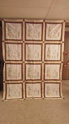 """Hand Embroidered 68"""" X 92"""" Quilt Top Ducks Flying Over Pond"""